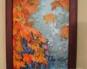 "Super Sale. Large ORIGINAL Painting 18x14"" size, Pretty Fall, Autumn, Orange Leafs, Sky, Yellow, Blue, Teal, Orange, Fall, Colorful Leafs"