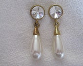Vintage Pierced Earrings with Prism Cut Glass and Drop Faux Pearl