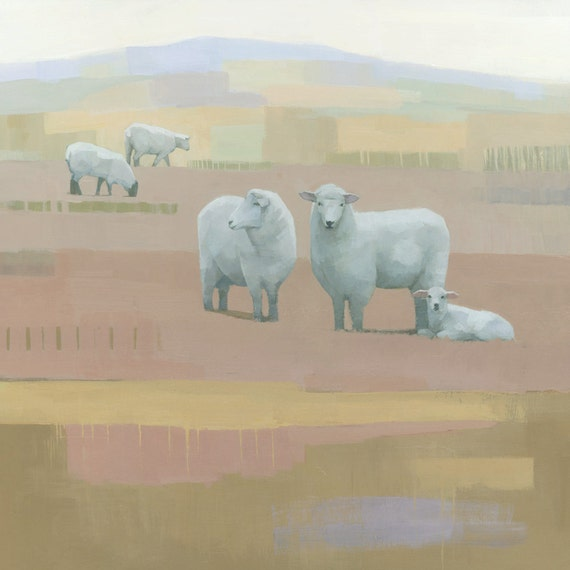Life Between Seams, Sheep Painting, Signed Giclee Print 11x11 inches