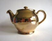 Vintage Denby Gold Teapot 50s Mid Century Hollywood English Retro
