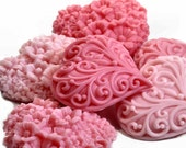 Valentine Soap Hearts in Graduated Shades Select Your Own Color and Fragrance - SoapRhapsody