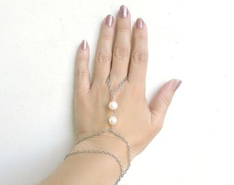 Slave Bracelet Hipster- Two large white freshwater pearls-Metal Chain silver tone-  - Jewelry Piece