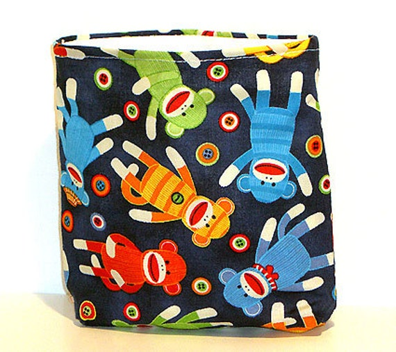 50% OFF SALE - Reusable Snack Bags:  Gusseted Snack Bag in Sock Monkey Fabric