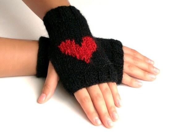 Black Heart embroidered hand knit fingerless gloves - Cashmere blend - Mohair  Mittens