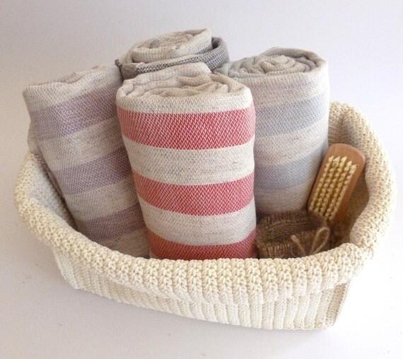 Free Shipment, 4 Natural Turkish Towel, Peshtemal, handmade, hammam, spa, yoga, Red, Lilac,  Orange and Navy Striped