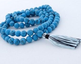 Turquoise Mala - 108 beads 8mm imitation turquoise mala