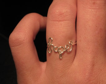 Wire Wrapped HOPE Spelled Small MADE to Order Ring
