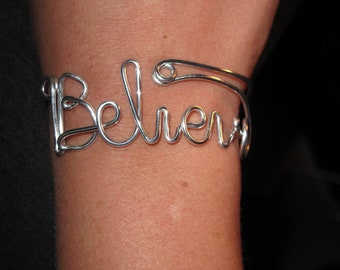 Wire Wrapped BELIEVE Spelled Adjustable Cuff MADE TO Order