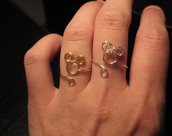 Wire Wrapped Small Mickey and Minnie Silver and Gold Adjustable Rings