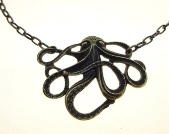 Steampunk Cthulhu Necklace Antiqued Brass Or Silver Plated Octopus