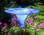Garden HUMMINGBIRD Art, BIRD FEEDER, stained glass, copper, Cerulean Blue