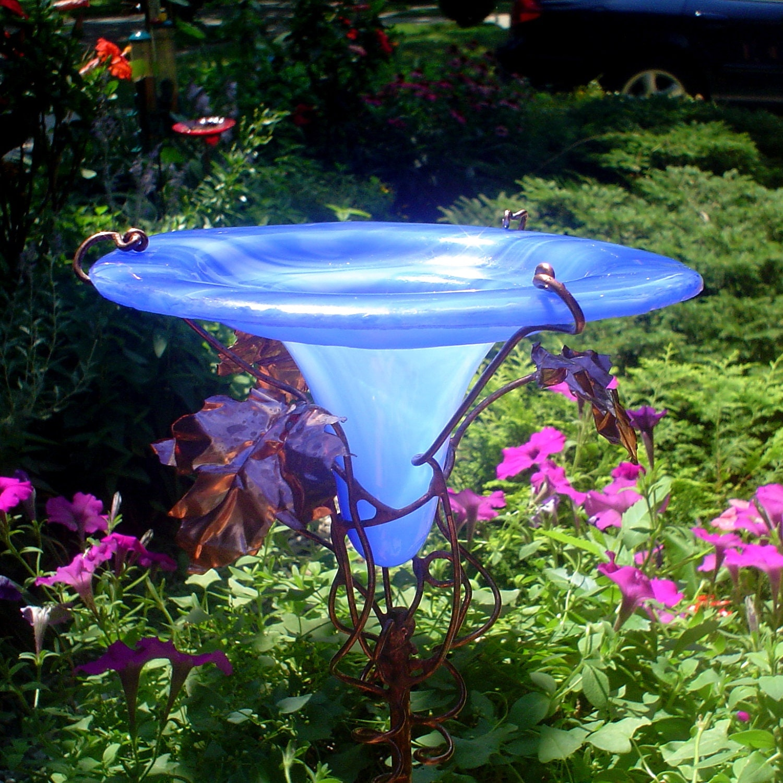 Garden HUMMINGBIRD Art BIRD FEEDER Stained Glass Copper