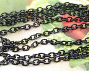 "Long One Chain  oval Loop Black Copper Metal   Chain 8mmx10mm---  38"" ---1m"