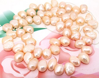 Loose pink rice 7mmx 9mm freshwater cultured Pearl beads FULL STRAND