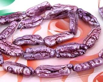 Loose beads gemstones 7mmx16mm Biwa Purple Luster Pearl freshwater cultured  Pearl beads full one strand