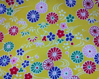 Daisy on water, yellow, fat quarter, pure cotton fabric