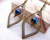 Bohemian Earrings Boho Earrings Blue Earrings Dangle Brass Earrings Drop Earrings Gypsy Southwest Earrings Jewelry boho chic earring feather