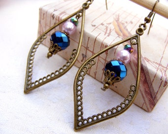 Bohemian Earrings Boho Earrings Blue Earrings Dangle Brass Earrings Drop Earrings Gypsy Southwest Earrings Jewelry boho chic earring feather