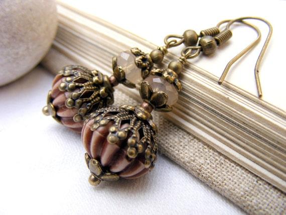 Valentines day sale, dangle earrings, drop earrings, beadwork earrings, Baroque Romantic delicate pale nude cream ivory bridesmaids vintage