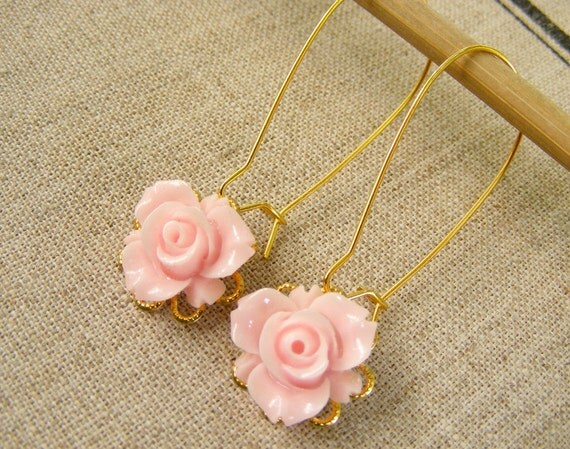 Pink rose nude soft summer golden filigree flower shabby chic resin romantic vintage earrings wedding bridesmaids gift
