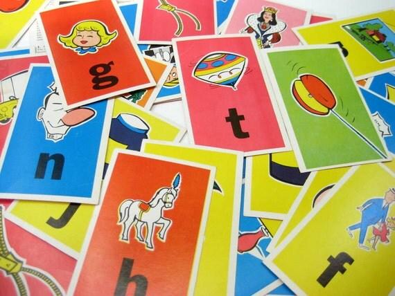 Vintage 1963 Flash Edu Cards Alphabet ABC Train