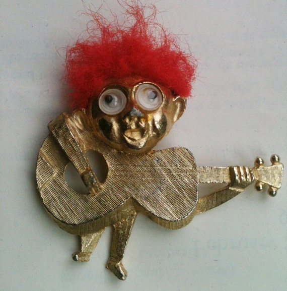 Vintage Figural Guitar Player Music Troll Pin Signed
