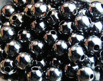 Gunmetal finish Beads, 2.5mm round -100