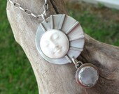 SALE - See Shop Announcement for Details - Carved Bone Face & Rainbow Moonstone Sterling Silver Necklace