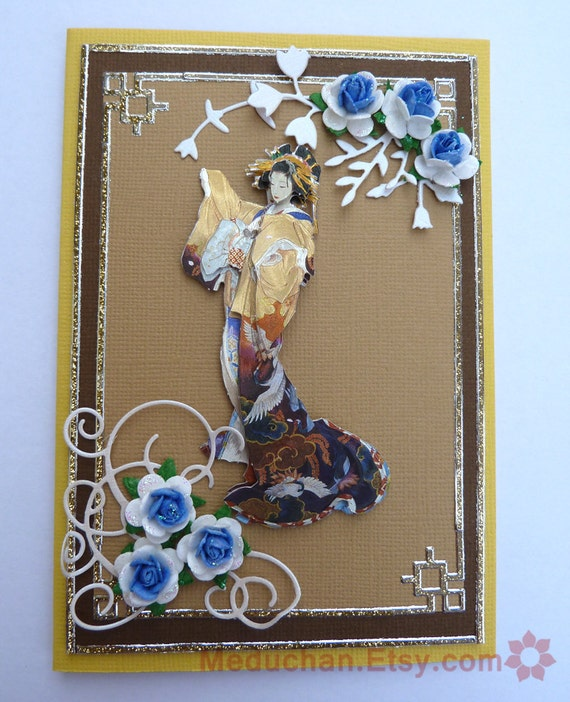 Golden Yellow and Brown 3D Geisha Lady Blank Card