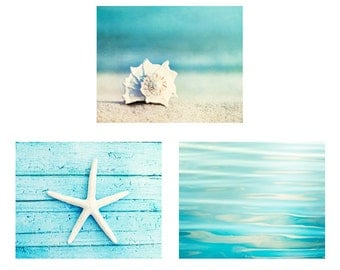 Beach Print Set - Set of 3 Photographs, aqua photo set ocean sea seashell starfish photography white seashore coastal wall art 11x14, 8x10