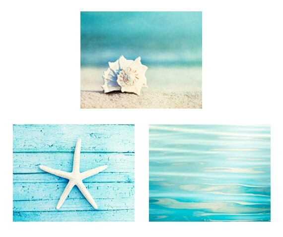 Beach Print Set - Set of 3 Photographs, aqua photo set ocean sea seashell starfish photography white seashore coastal wall art 11x14, 8x10