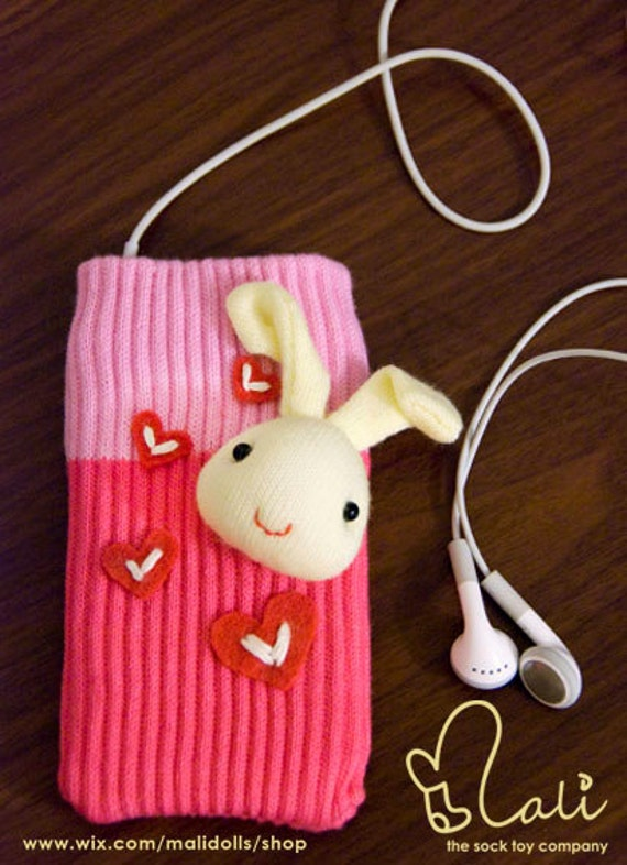 iPhone 5 Sock Case, Cellphone Cozy, iPhone iPod Touch Accessory, Bunny Sock Doll on Hot Pink Sock Cozy