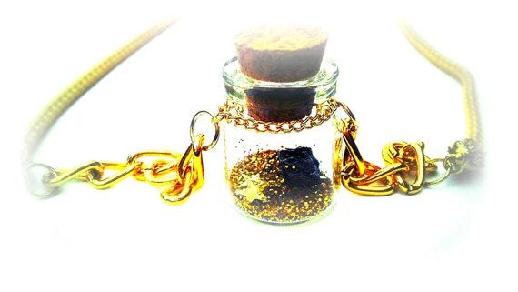Bottle Meteorite Necklace Gold