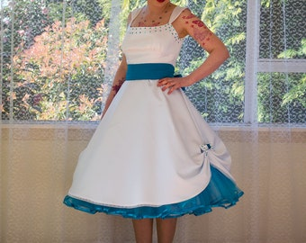 """1950s Pin up Wedding Dress """"Mindy"""" Tea Length Style Peacock Blue Bow, Petticoat & Sash - Any colour - Custom made to fit"""