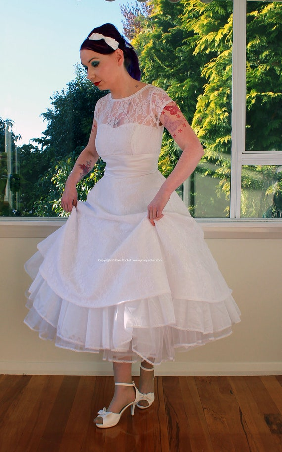 1950s Rockabilly Wedding Dress 'Lacey' with Lace