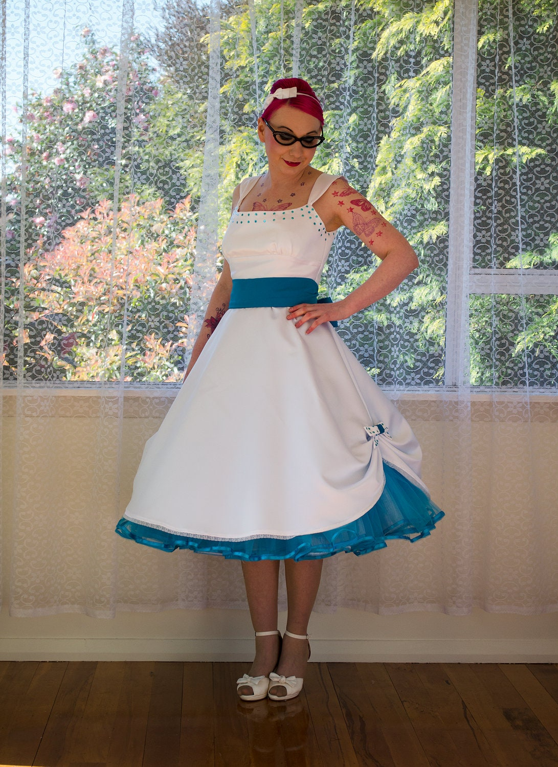 1950s pin up wedding dress mindy tea length style for Wedding dresses pin up style