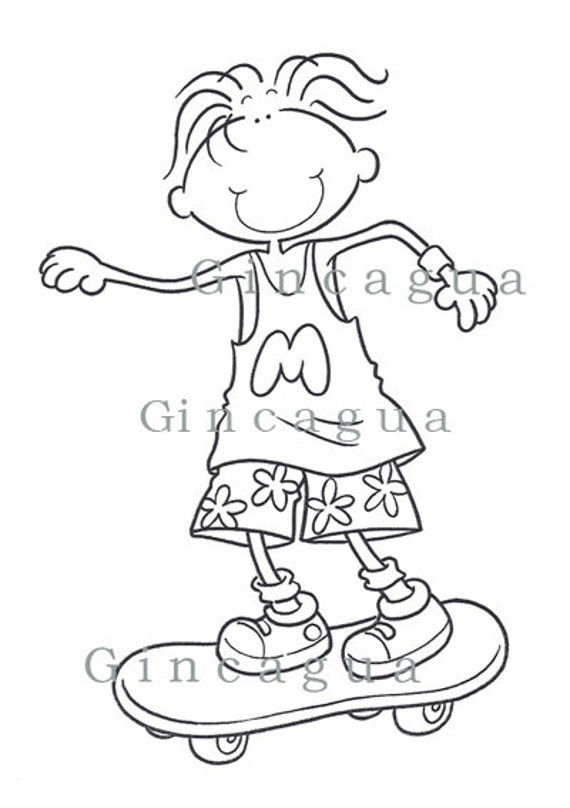 Printable Coloring Page Boy 8 Years and Skateboard