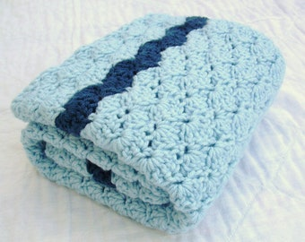 Crochet Baby Blanket, Baby Blanket, Crochet Blue Baby Blanket, Little Boy Blue, travel size
