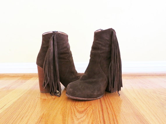 Western inspired brown suede ankle boot with fringe