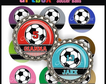 Editable Soccer Balls Bottle Cap Images - 4x6 Digital Jpeg File Collage Sheet - BottleCap One Inch Circles for Pendants, Hair Bows, Magnets
