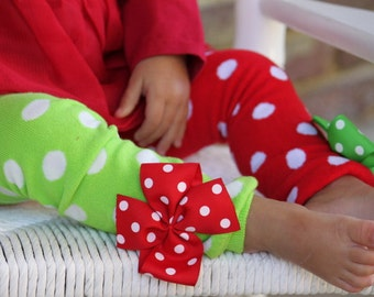 Christmas Bow Leg Warmers - red and lime green polka dot - mismatched red and green bow leg warmers