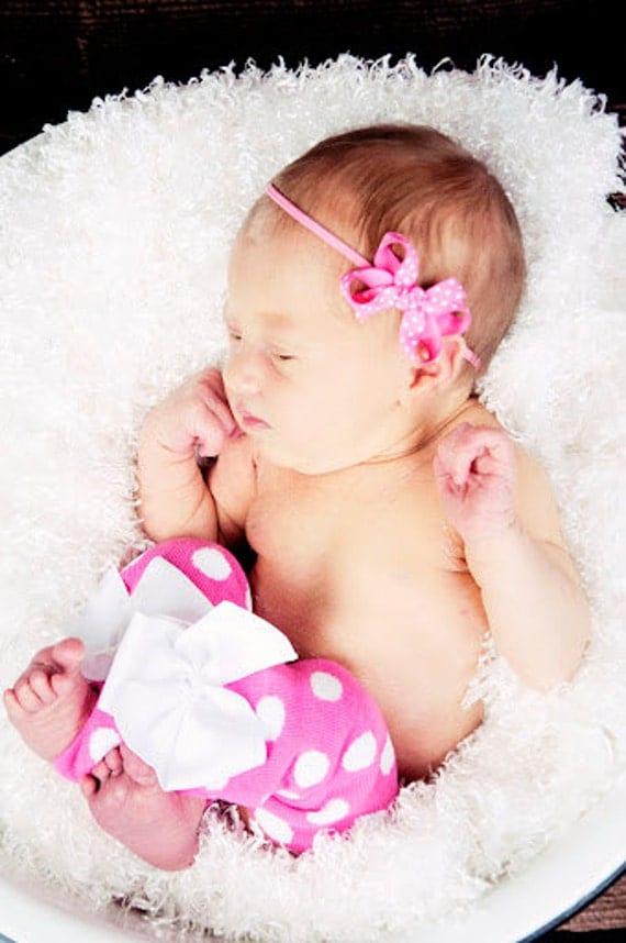 Hot Pink Polka Dot Leg Warmers in newborn or regular size --  Baby Girl Leg Warmers -  pretty white bows