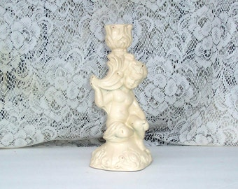 Cherub candleholder  cottage chic french country upcycled vintage ivory romantic candleholder weddings