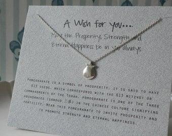 Kabbala Pomegranate (9mm) 925 Sterling Silver Wish Necklace  - Prosperity and Fertility
