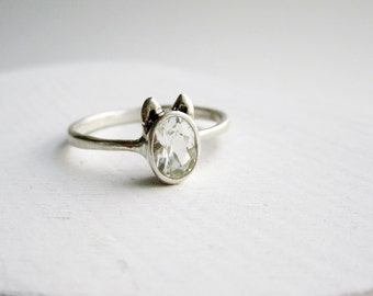White Dog Ring, White Topaz and Sterling Silver, Dog Design1