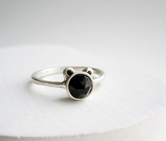 Black Bear Ring, Black Spinel and Sterling Silver