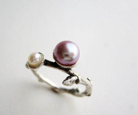 Pearl, Silver Twig Ring, Pink & White Pearls, Silver Branch Fine Jewelry