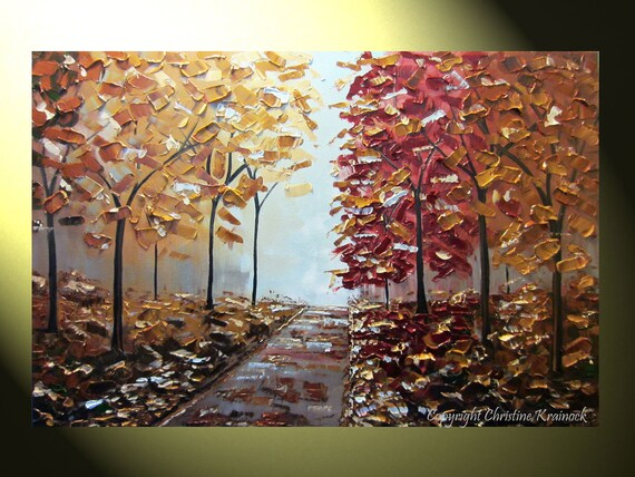 """Original Palette Knife Painting Autumn Trees, Textured Birch Tree Landscape, Blue Brown Gold Red Grey Fall Trees Impasto 24x36"""" -Christine"""