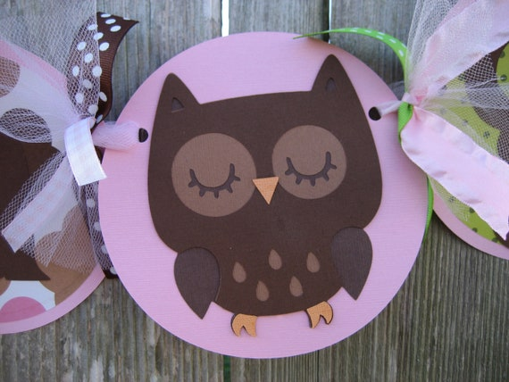 owl baby shower decorations its a girl banner
