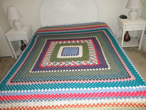 New Hand Crocheted Granny Square Afghan Queen Sized